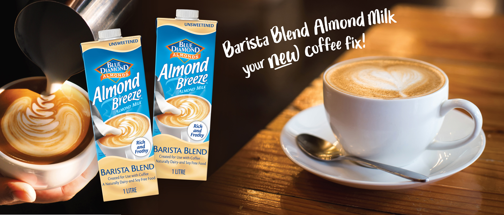 Almond Breeze Barista Blend. A coffee fix on the rise.