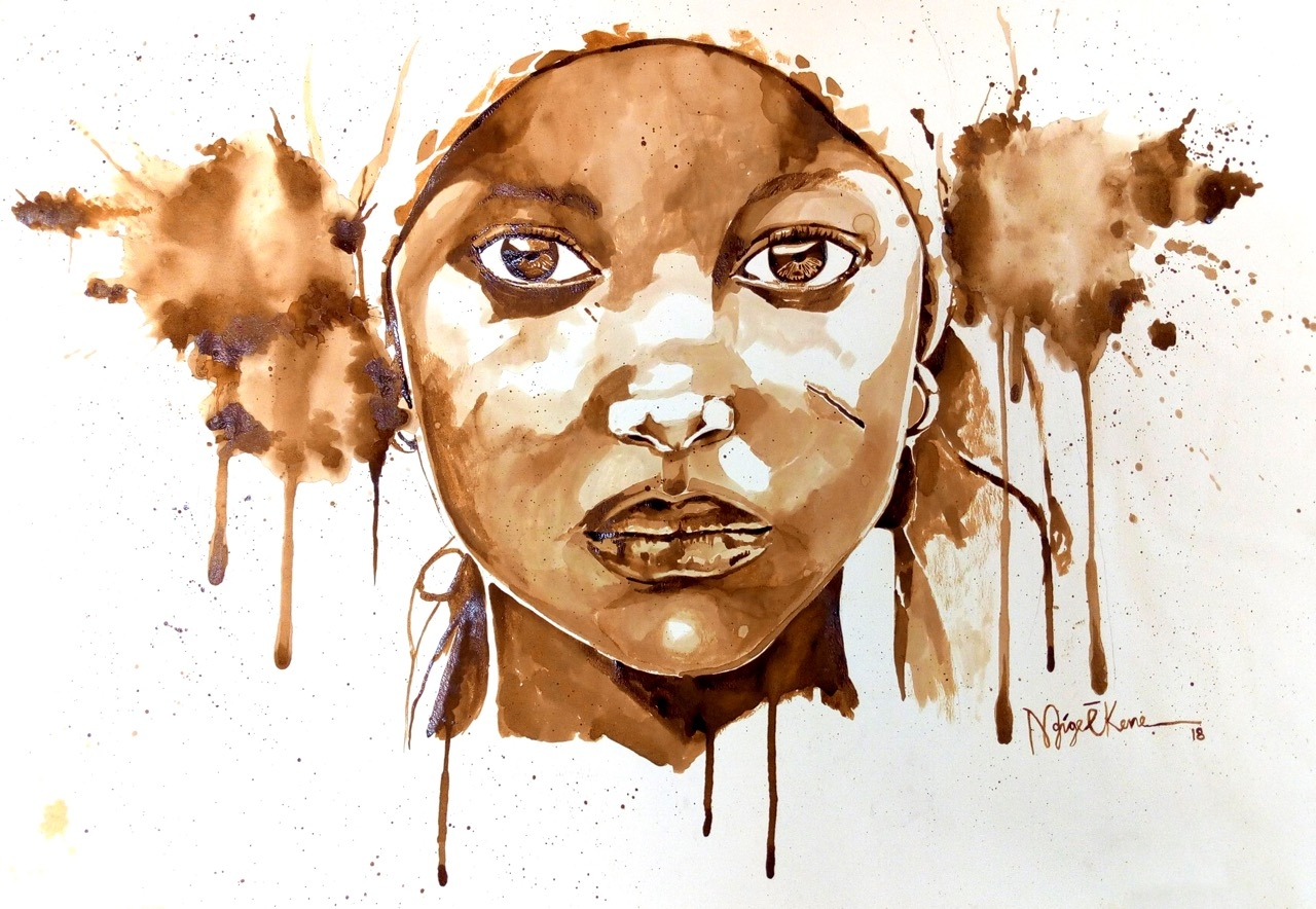 Nigerian artist, Ekene Ngige, inspires peace through coffee on canvas